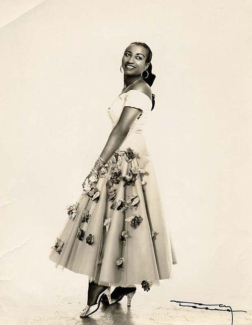 Celia Cruz in Cuba, ca. 1950s. Photo by Narcy Studios, Cuba